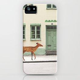 Deer in town iPhone Case