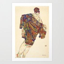 Woman in multicolourd coat by Egon Schielle Art Print