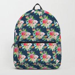 Watercolor Floral Bundles on Blue Backpack
