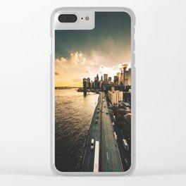 nyc skyline at dusk Clear iPhone Case