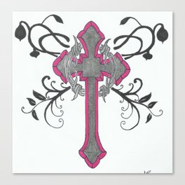 cross n flowers Canvas Print