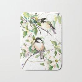 Chickadees and Dogwood Flowers Bath Mat