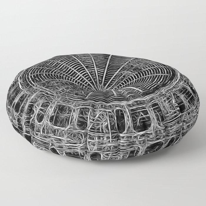 Mandala - central black and white web Floor Pillow