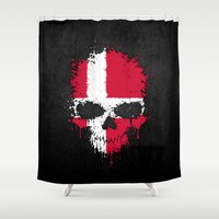 denmark Shower Curtains featuring Flag of Denmark on a Chaotic Splatter Skull by Jeff Bartels