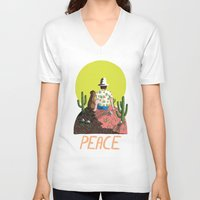 peace V-neck T-shirts featuring Peace by Colourbox