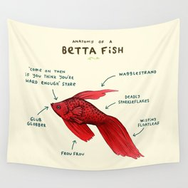 Anatomy of a Betta Fish Wall Tapestry