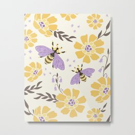 Honey Bees and Flowers - Yellow and Lavender Purple Metal Print