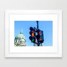 Orange color on the traffic light in Montreal Framed Art Print