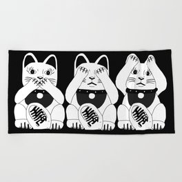 Three Smart Cats Beach Towel