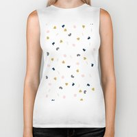 novelty Biker Tanks featuring Modern pastel pink navy blue gold glitter confetti by Girly Trend