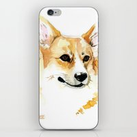 corgi iPhone & iPod Skins featuring Corgi by Elise Lesueur