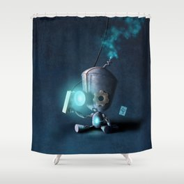 Glow Robot Shower Curtain