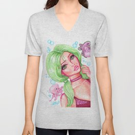 Seaweed and Friends Girl with Green Hair and Cute Baby Octopus Fantasy Art Mermaid Unisex V-Neck