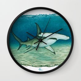 """Great Hammerhead Shark"" by Amber Marine ~ Watercolor Painting, (Copyright 2016) Wall Clock"