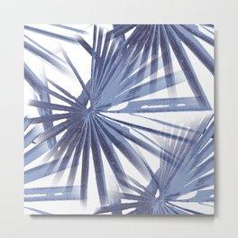Pale Blue Violet Tropical Beach Palm Fan Vector Metal Print