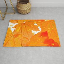 Fall Orange Maple Leaves On A White Background #decor #buyart #society6 Rug