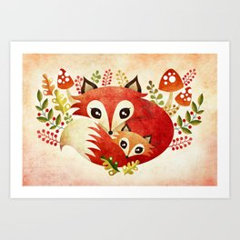 Fox Mom & Pup Art Print