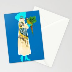 Bird Coat Blue Stationery Cards