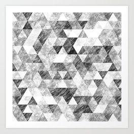 Triangles Grunge Pencil Geometric Black&White Grey Art Print