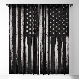 White Grunge American flag Blackout Curtain