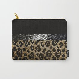 ANIMAL PRINT BLACK AND BROWN Carry-All Pouch