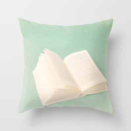 Open Book on Blue Textured Background (Vintage and Retro Still Life Photography)  Throw Pillow