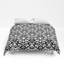 Flourish Damask Big Ptn White on Black Comforters