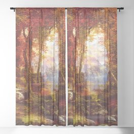 Under The Trees 1865 By Thomas Moran   Natural Wildlife Scenery Reproduction Sheer Curtain