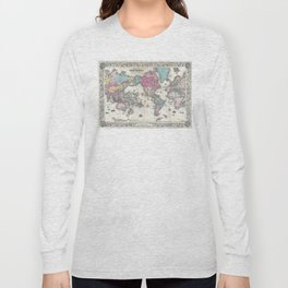 1852 J.H. Colton Map of the World Long Sleeve T-shirt