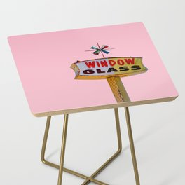 Atomic Pink Starburst - Vintage Googie-Style Sign with Pink Background Side Table