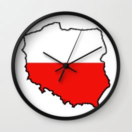 Poland Map with Polish Flag Wall Clock