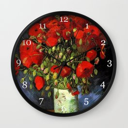 Vincent van Gogh, Vase with Red Poppies. Famous vintage  impressionism fine art. Wall Clock