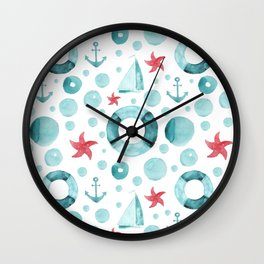 Watercolor hand drawn seamless pattern with a nautical theme Wall Clock