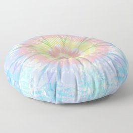 Pastel Tie Dye Mandala Bleach Pattern Floor Pillow