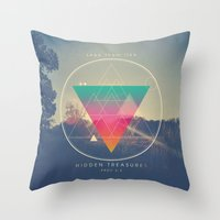 pocketfuel Throw Pillows featuring Seek Them Like Hidden Treasure - Proverbs 2:4 by Pocket Fuel