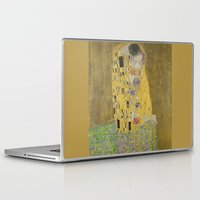 gustav klimt Laptop & iPad Skins featuring The Kiss - Gustav Klimt by Elegant Chaos Gallery