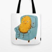 potato Tote Bags featuring Couch Potato by Julia Bereciartu
