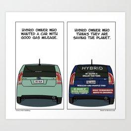 """On Hybrid Owners"" - Stuck in Reverse comic Art Print"