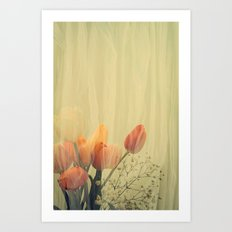 French Tulips in Citrus Colors Thinly Veiled -- Spring Botanical Art Print