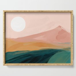 pink, green, gold moon watercolor mountains Serving Tray