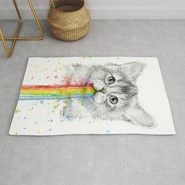 Kitten Puking Rainbows Cat Rainbow Vomit Rug