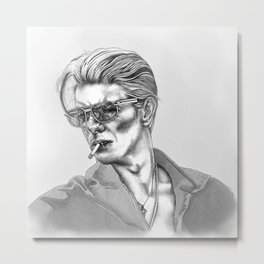 Black and White Bowie Metal Print