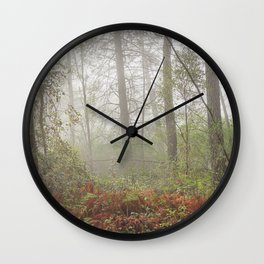 Serenity morning... Into the foggy woods Wall Clock