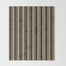Tan Brown and Black Vertical Var Size Stripes Throw Blanket