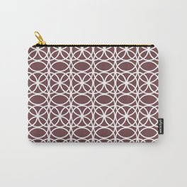 Pantone Red Pear and White Rings, Circle Heaven 2, Overlapping Ring Design - Digital Artwork Carry-All Pouch