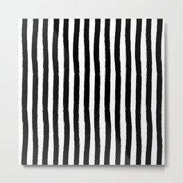 Black and White Cabana Stripes Palm Beach Preppy Metal Print