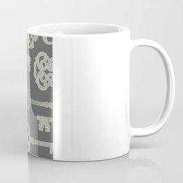 Skeleton Key Pattern in Gray Coffee Mug