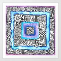 Purple Blue Zendoodle Square Art Print