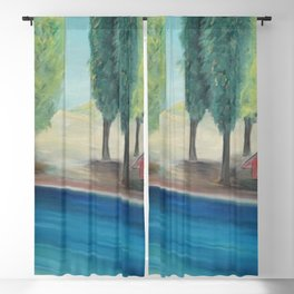 The Orchard House, the Spring Tulips, and the Blue, blue river by Marguerite Blasingame Blackout Curtain