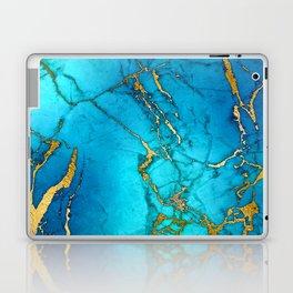 Gold And Teal Blue Indigo Malachite Marble Laptop & iPad Skin